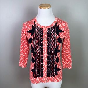 Anthropologie Tabitha Embroidered Cardigan Small